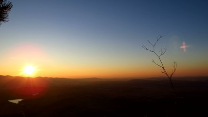 Red sunset from a top of a mountain - timelapse