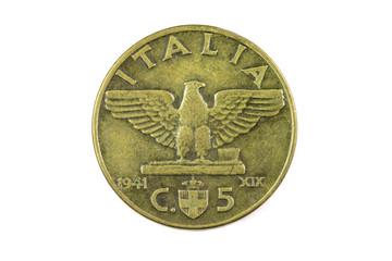 Old copper coin Italian closeup