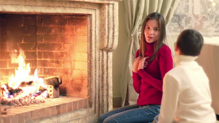 Kids By Fireplace