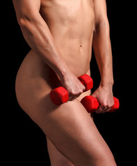Strong woman with barbells