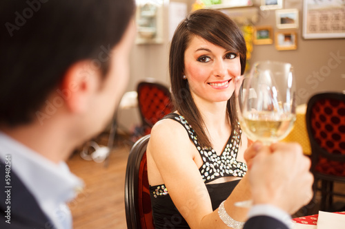 Couple toasting wineglasses