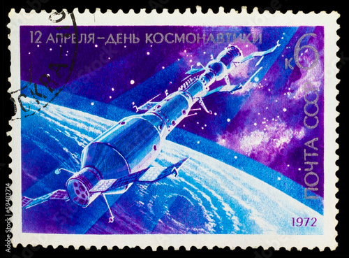 USSR - CIRCA 1978: stamp printed in USSR, day of space explorati