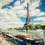 View of the Eiffel tower from the river Seine