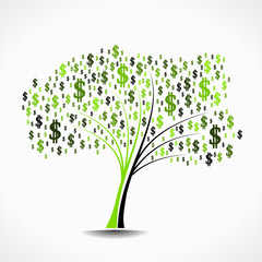 Money tree abstract vector illustration background