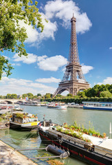 View of the Eiffel tower from the river Seine.