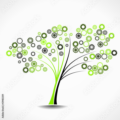 Cogwheel tree abstract vector illustration background
