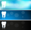 White tooth banners, three color variations
