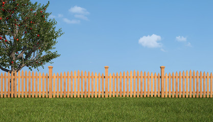 Wooden fence and apple tree