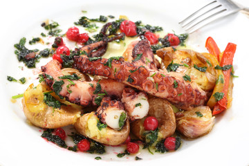 boiled and roasted octopus-portuguese traditional food- mediterr
