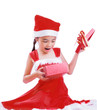 Asian Child in Santa hat with gift box