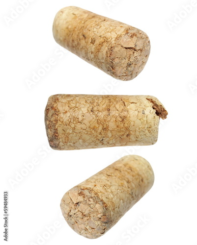 set old wine corks isolated on white