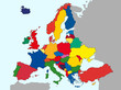 illustration of europe chart, colorful countries shape