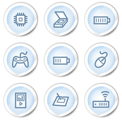 Electronics web icons set 2, light blue stickers
