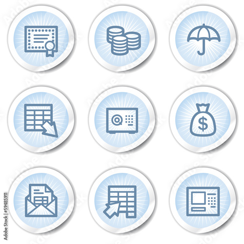 Banking web icons, light blue stickers