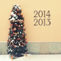 Cozy snowed Christmas tree