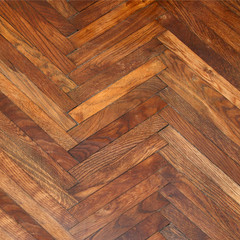 Lacquer, varnished old oak parquet background