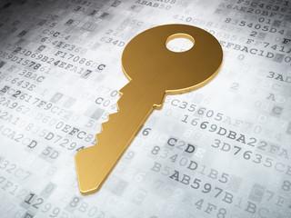 Safety concept: Golden Key on digital background