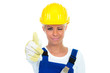 handwerker zeigt motiviert daumen hoch