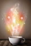 Coffee mug with abstract steam and colorful lights - 59487936
