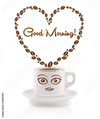 Coffee mug with coffee beans shaped heart with good morning sign