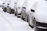 Cars after winter snowfall