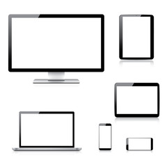 Realistic computer, laptop, tablet and smartphone vectors