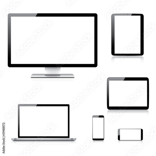 Realistic computer, laptop, tablet and smartphone vectors
