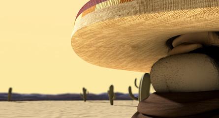 Cartoon Mexican In Mexican Standoff Desert