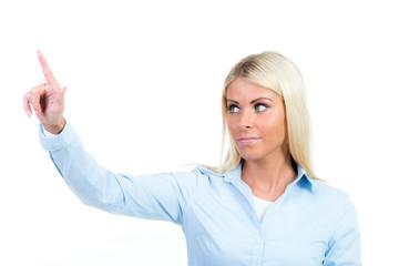businessfrau zeigt mit dem finger hoch
