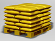 golden pallet with goods
