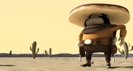 Cartoon Mexican In Mexican Standoff Desert