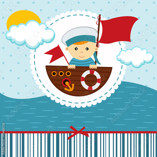 baby boy sailor - vector illustration