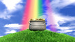 Pot Of Gold And Rainbow On Grassy Hill