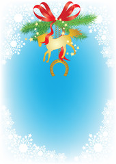 Christmas background with snowflakes bow, fir branches and horse