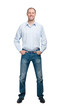 Smiling man in blue shirt and jeanse isolated on white backgroun