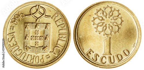 One Escudo Coin Isolated