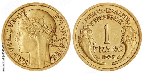 One Franc Coin Isolated