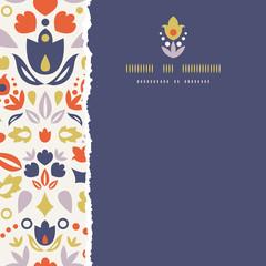 Vector ornamental folk tulips square torn frame seamless pattern