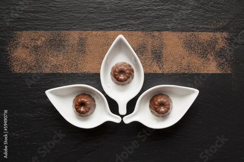 Fotobehang Snoepjes Chocolat sur Ardoise