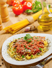 Food, Pasta with sauce, ingredients on background