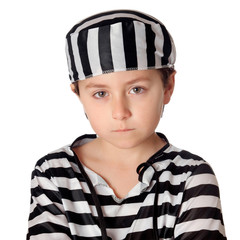 Sad child with with striped prisoner costume