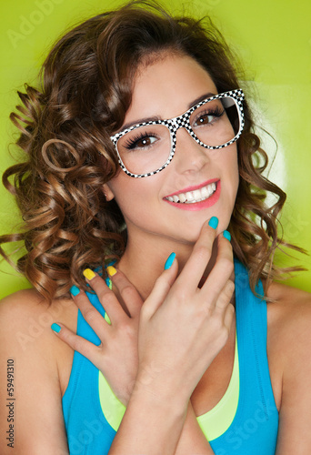 Colorful portrait of happy attractive young woman