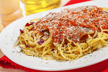Food, Pasta with sauce and parmesan cheese