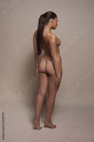 Elegant full length nude woman