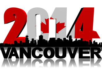 Vancouver skyline with 2014 Canadian flag text illustration