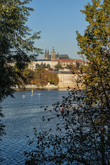 Prague Castle overlook with Vltava river