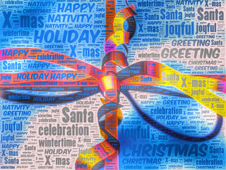 Word art representation of a Christmas gift pack