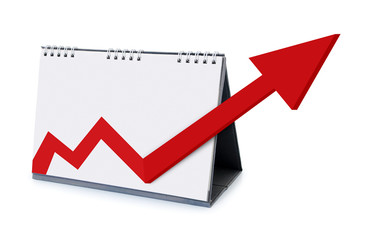 calendar with arrows increasing growth in 2014
