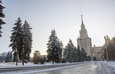 View of MGU, Russia, in winter evening.