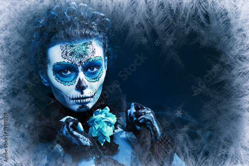 winter make up sugar skull